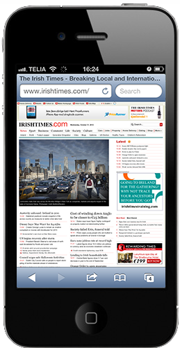 iPhone-like device showing the tiny Irish Times website