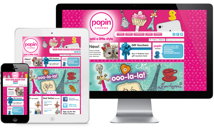The responsively designed Popin Charms website displayed on an iMac-like, iPad-like and iPhone-like device