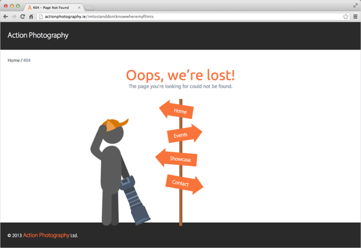 Action Photography 404 page screenshot