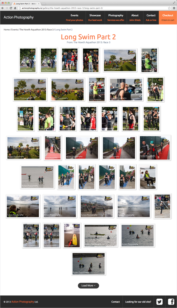 Action Photography gallery page screenshot